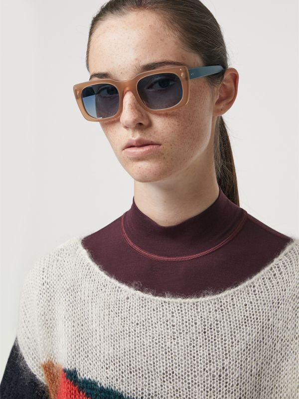 Square Frame Sunglasses in Nude - Women | Burberry - cell image 2