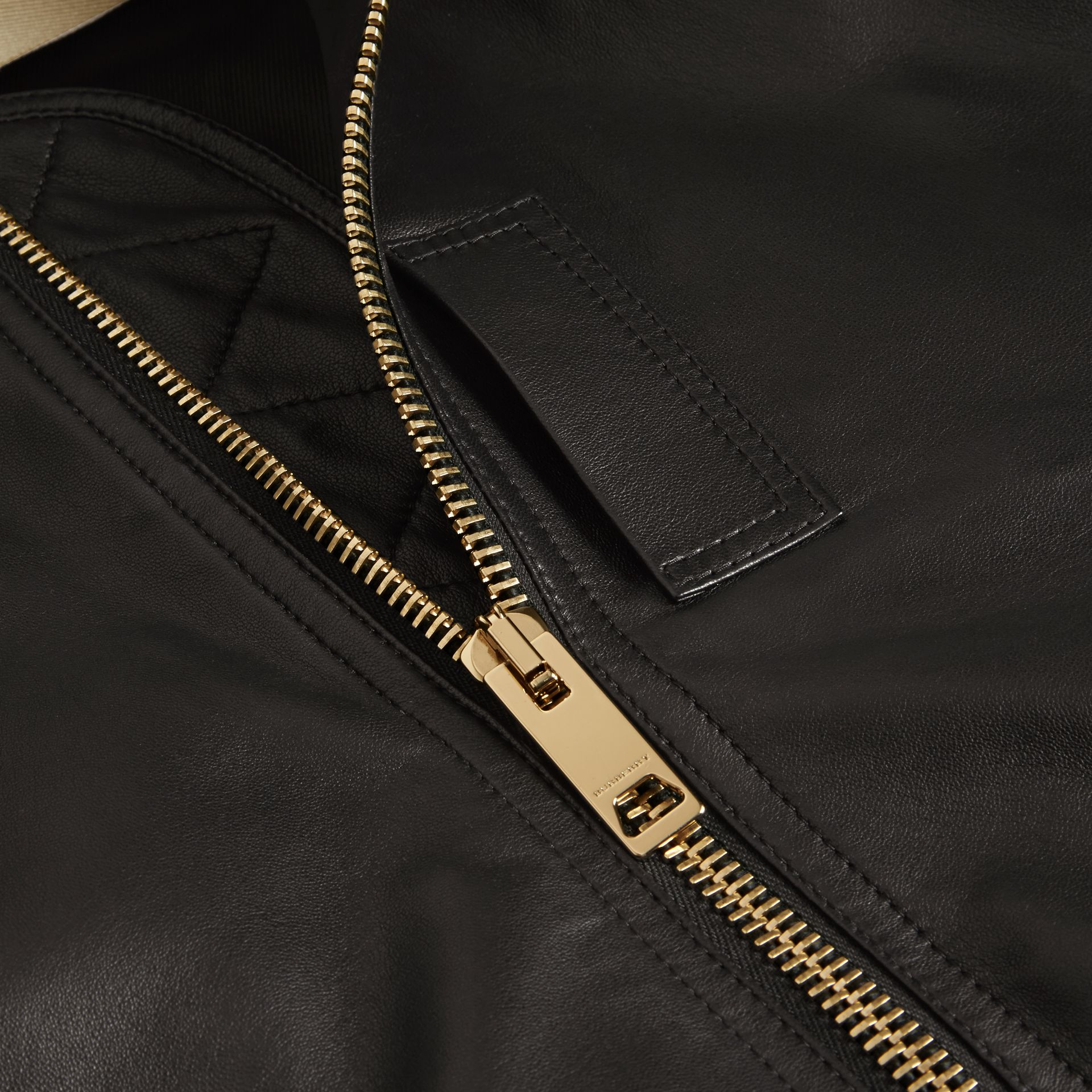 Black Lightweight Lambskin Bomber Jacket Black - gallery image 2