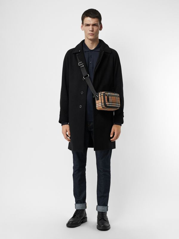 Vintage Check and Leather Crossbody Bag in Antique Yellow - Men | Burberry Singapore - cell image 2
