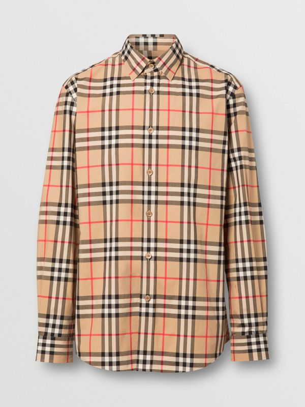 Vintage Check Cotton Poplin Shirt in Archive Beige - Men | Burberry - cell image 3