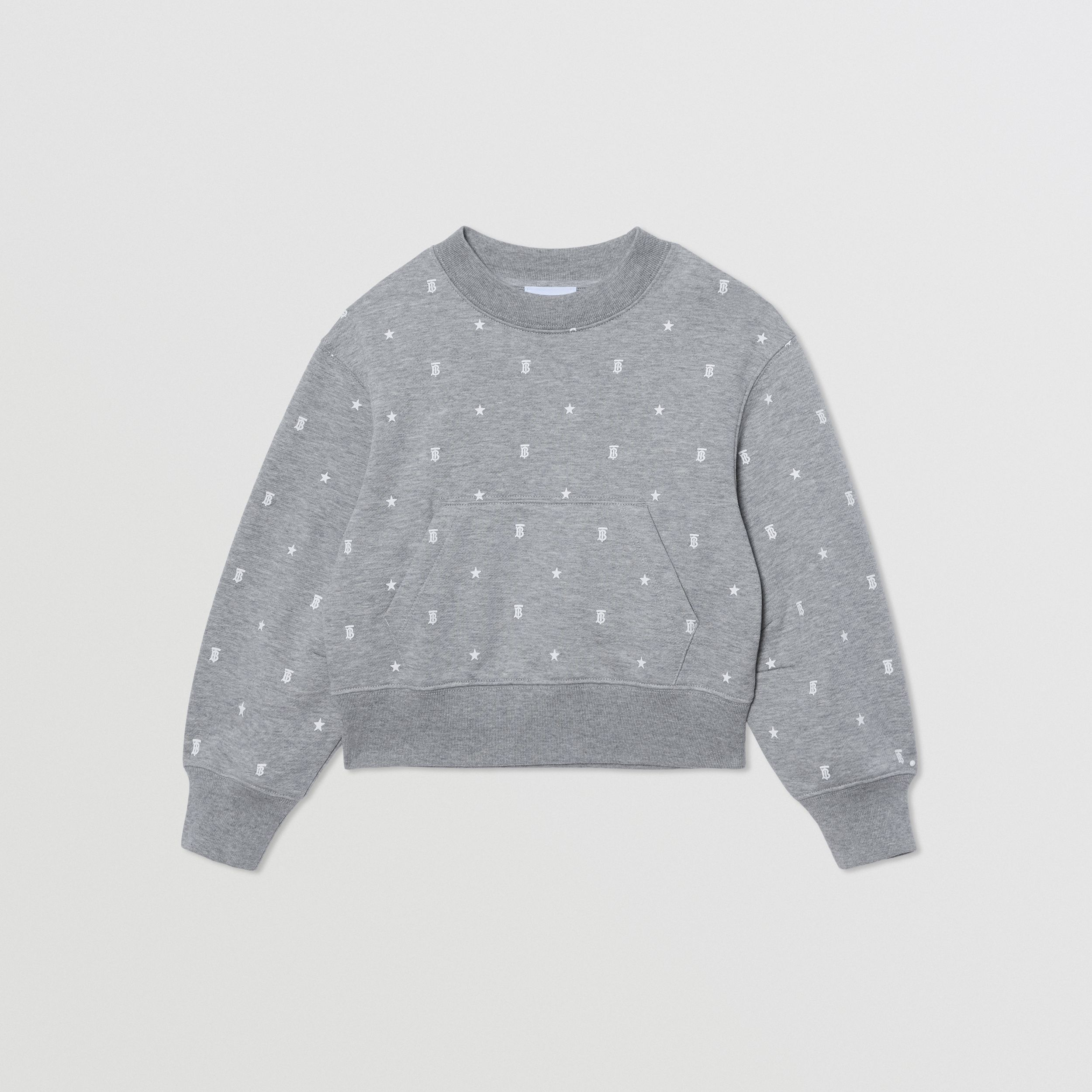 Star and Monogram Motif Cotton Sweatshirt in Grey | Burberry - 1