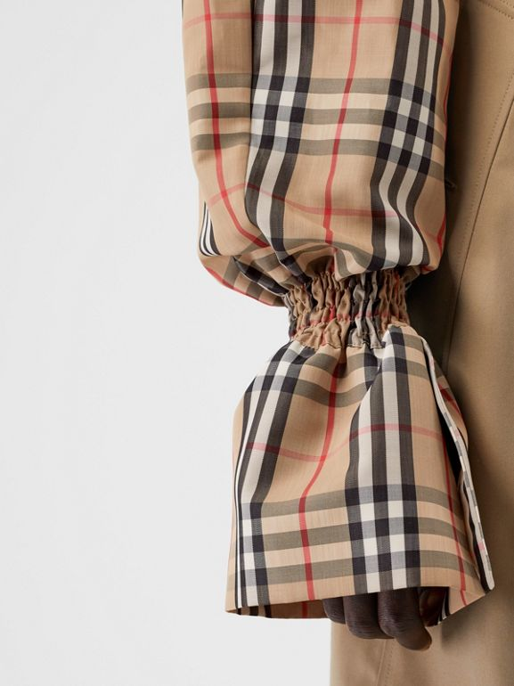 Vintage Check Puff Sleeves in Archive Beige - Women | Burberry Australia - cell image 1