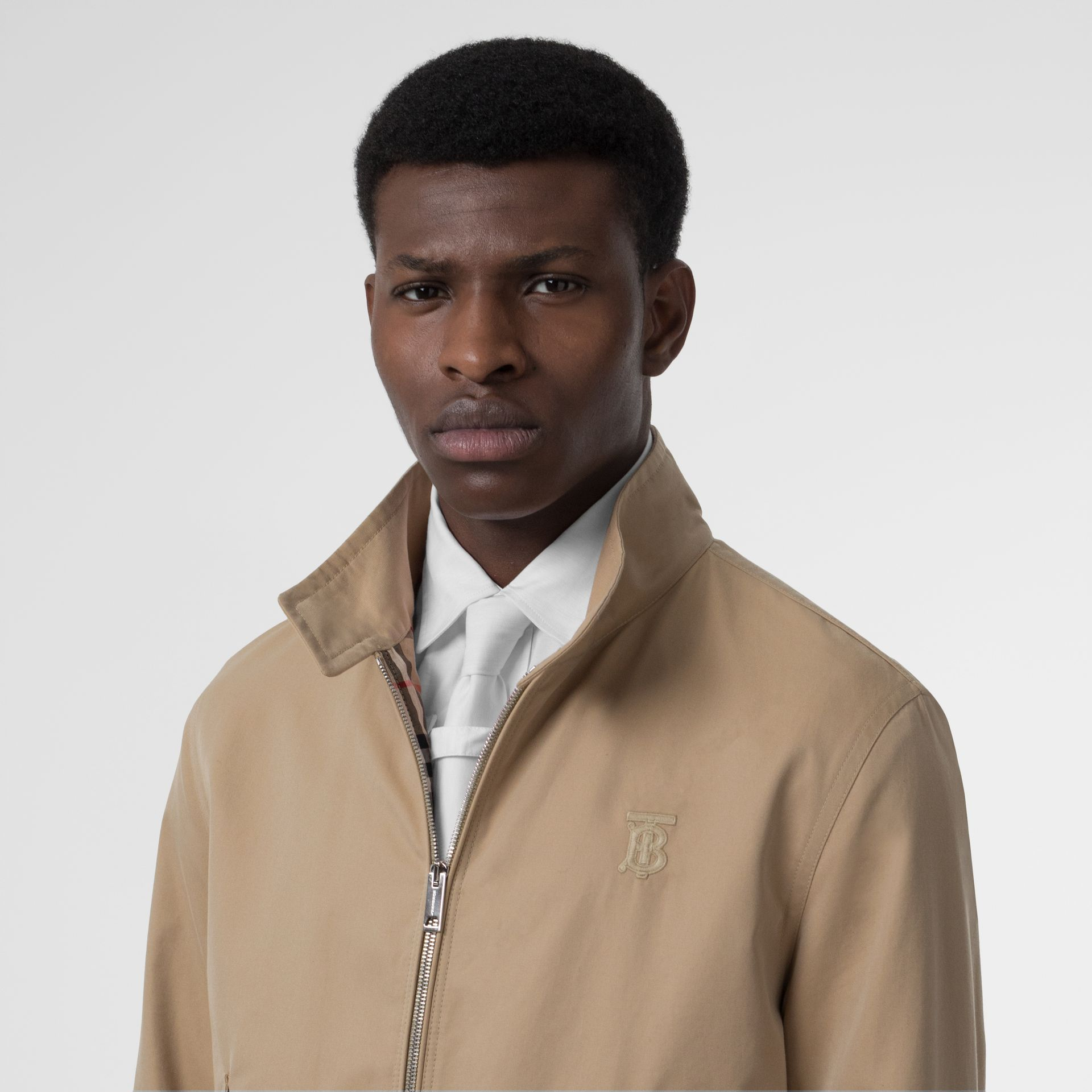 Icon Stripe Detail Cotton Gabardine Harrington Jacket in Honey - Men | Burberry - gallery image 1