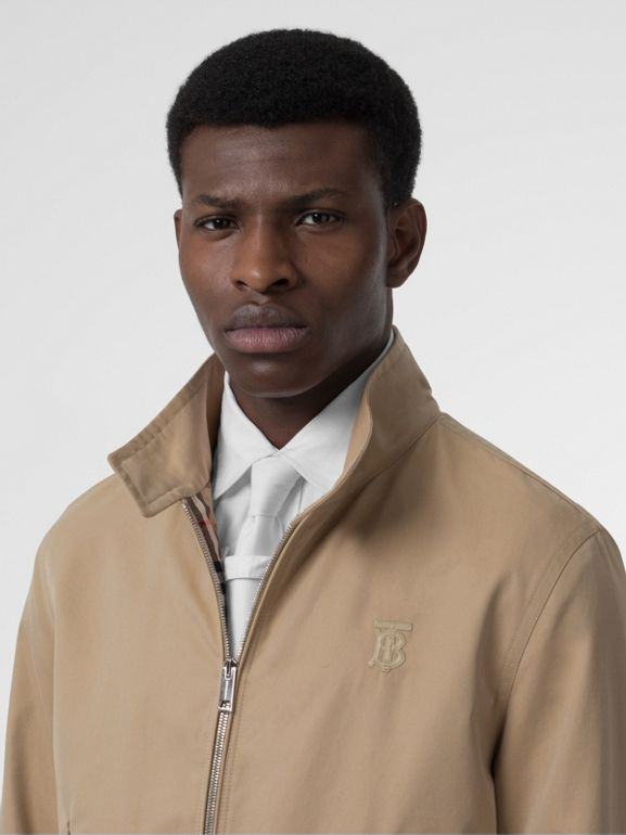 Icon Stripe Detail Cotton Gabardine Harrington Jacket in Honey - Men | Burberry United States - cell image 1