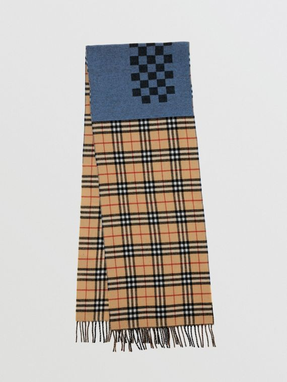 Vintage Check Colour Block Wool Cashmere Scarf in Antique Yellow