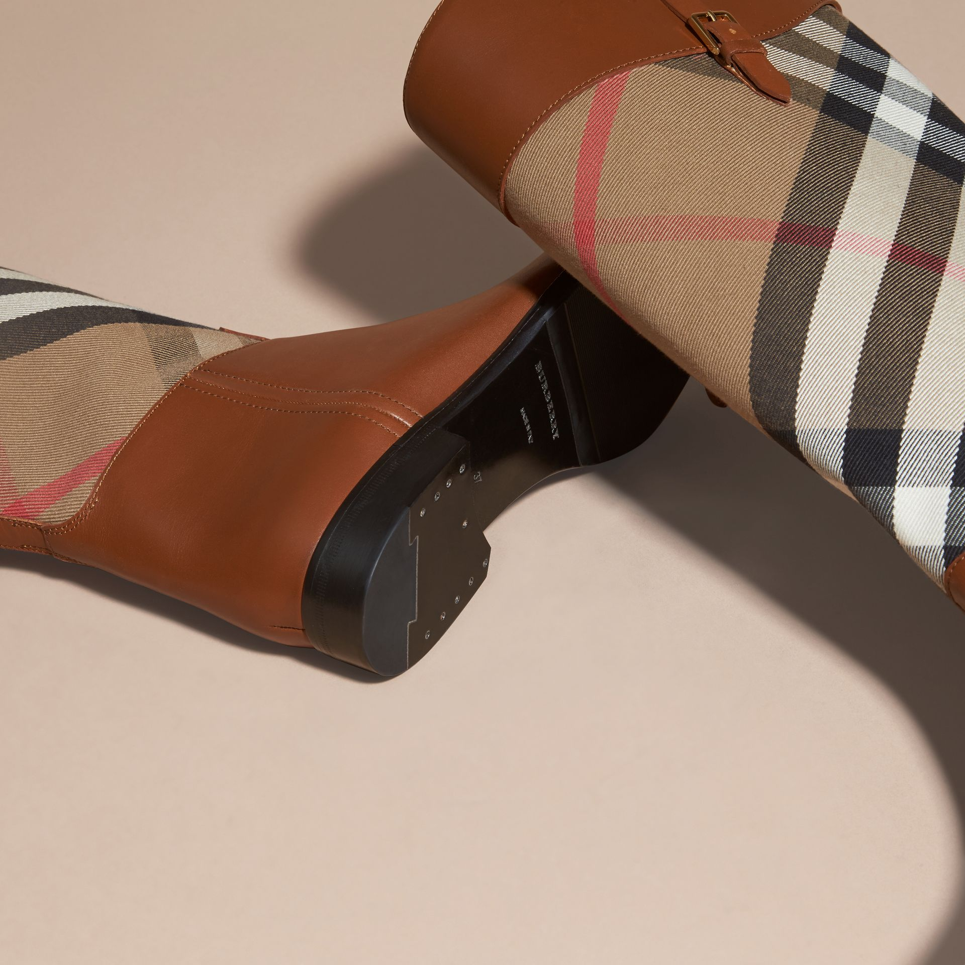 House Check and Leather Riding Boots in Chestnut - Women | Burberry - gallery image 2