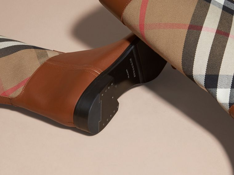 House Check and Leather Riding Boots in Chestnut - Women | Burberry - cell image 1