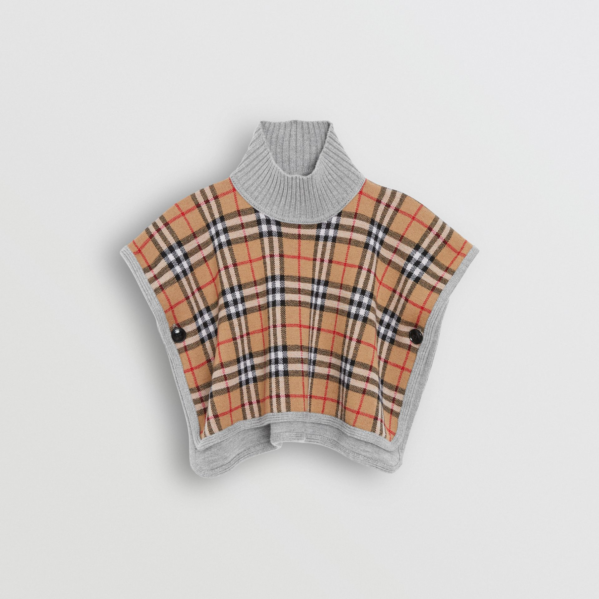 Reversible Check Merino Wool Jacquard Poncho in Grey Melange - Children | Burberry United Kingdom - gallery image 3