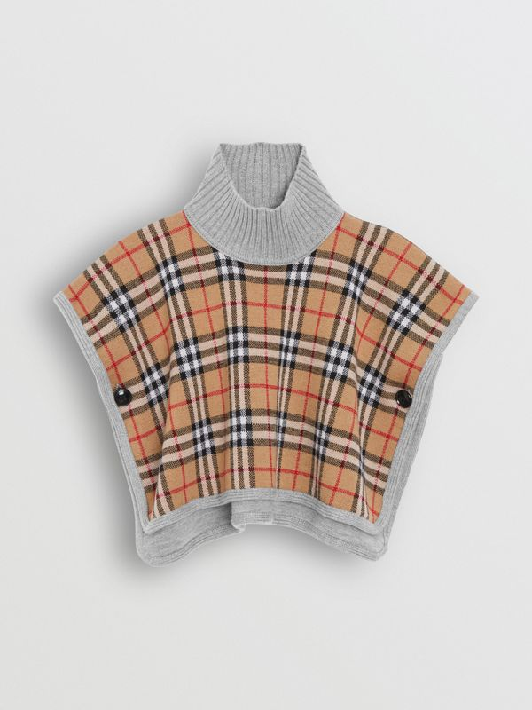 Reversible Check Merino Wool Jacquard Poncho in Grey Melange - Children | Burberry United Kingdom - cell image 3