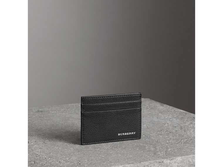 Grainy Leather Card Case in Black | Burberry - cell image 4