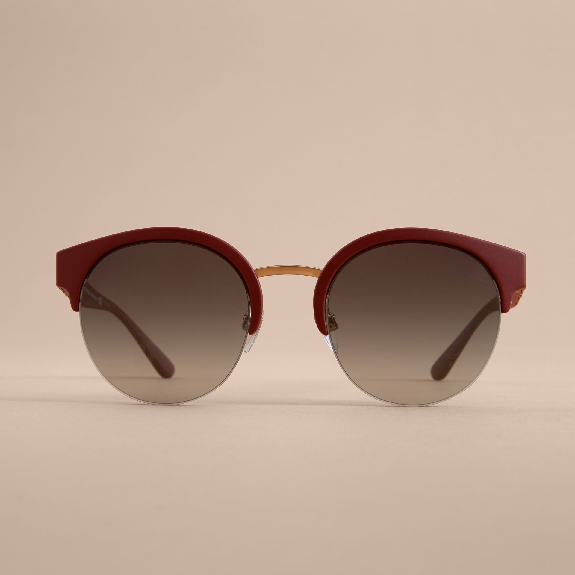 Check Detail Round Half-frame Sunglasses in Burgundy - Women | Burberry United Kingdom - gallery image 2