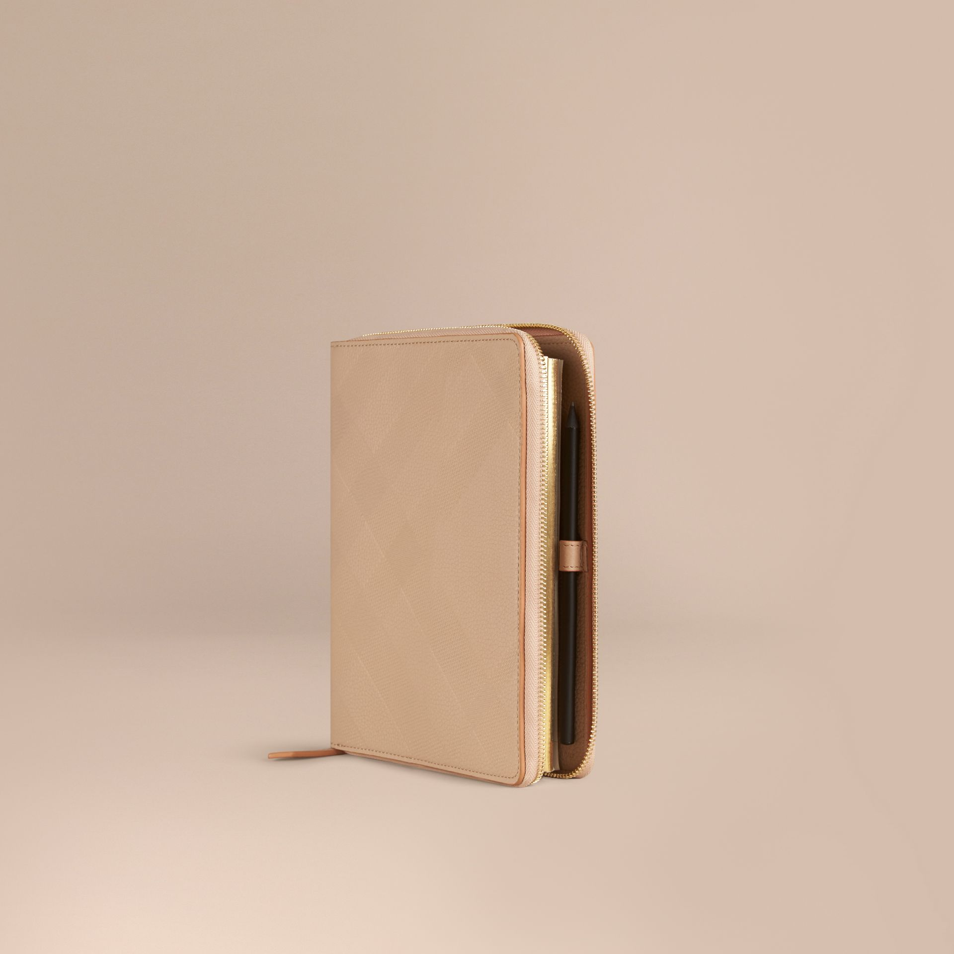 Pale apricot Ziparound Check-Embossed Leather A5 Notebook Pale Apricot - gallery image 1