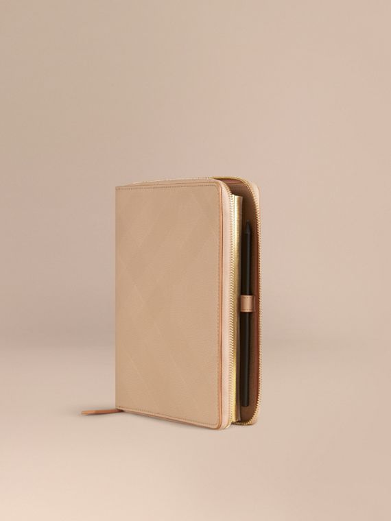 Ziparound Check-Embossed Leather A5 Notebook Pale Apricot