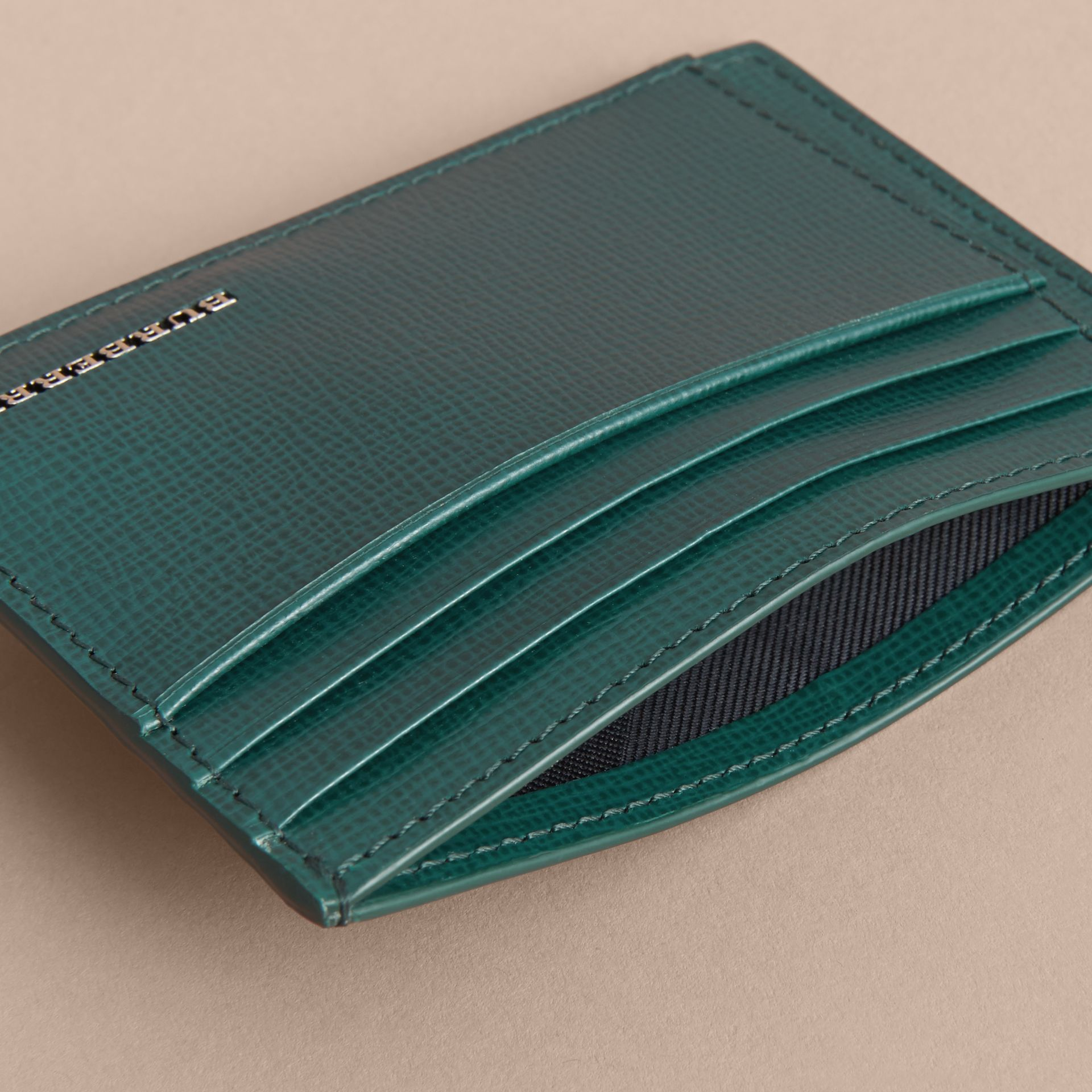 London Leather Card Case in Dark Teal | Burberry - gallery image 5