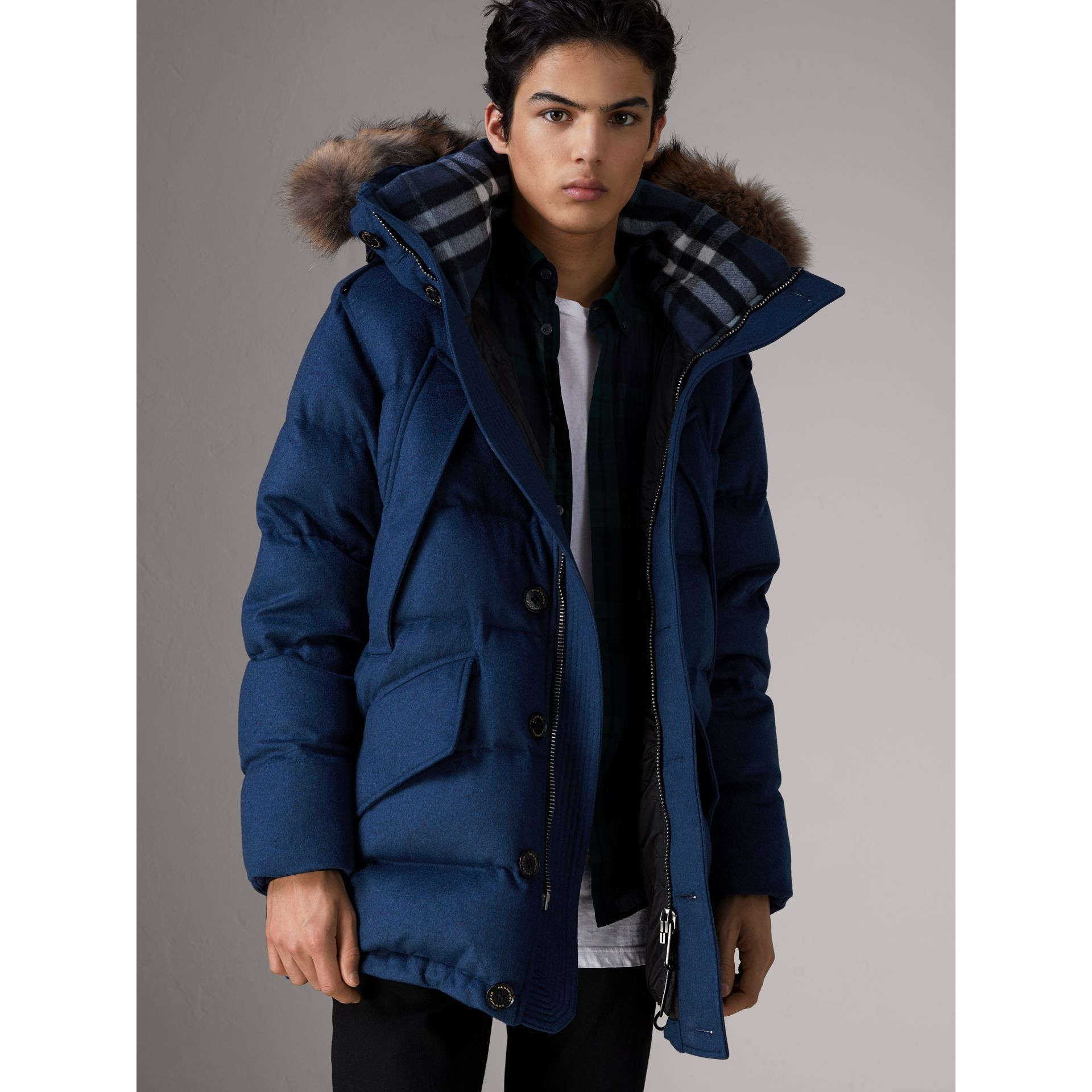 Detachable Fur Trim Cashmere Down-filled Parka in Teal Blue Melange - Men | Burberry - gallery image 1