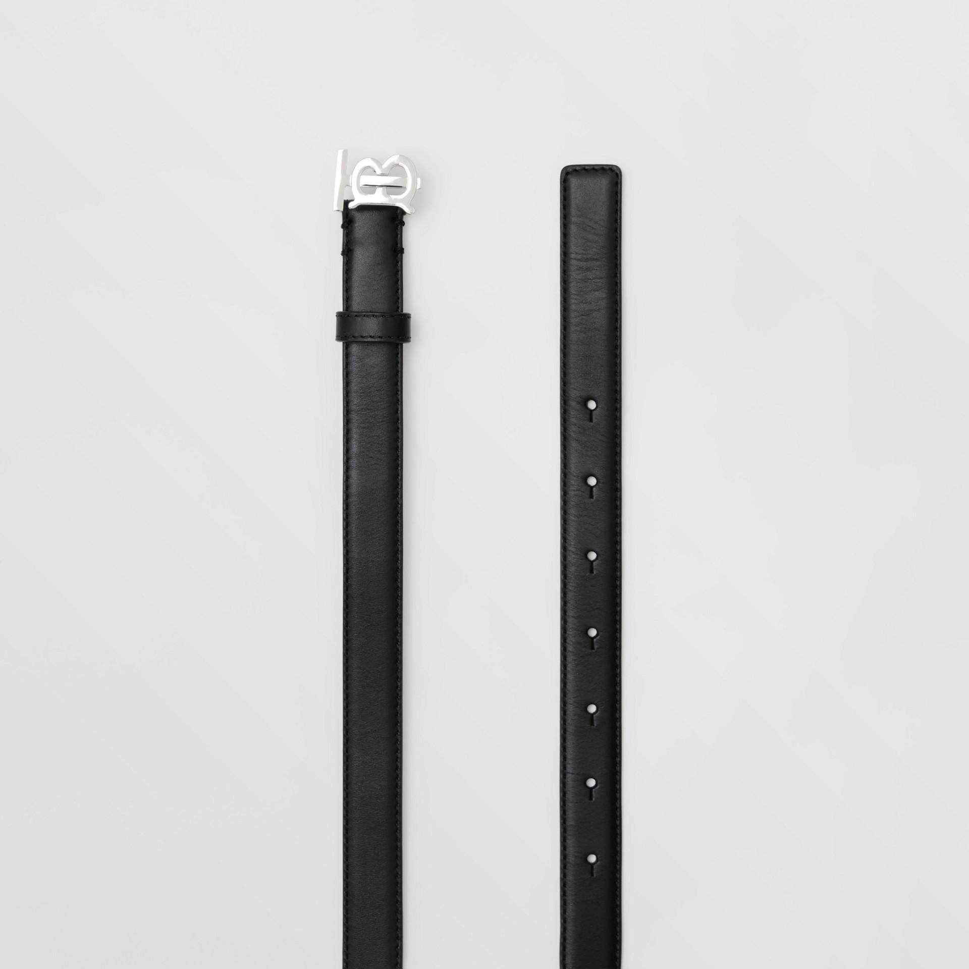 Monogram Motif Leather Belt in Black/palladio - Women | Burberry Canada - gallery image 5