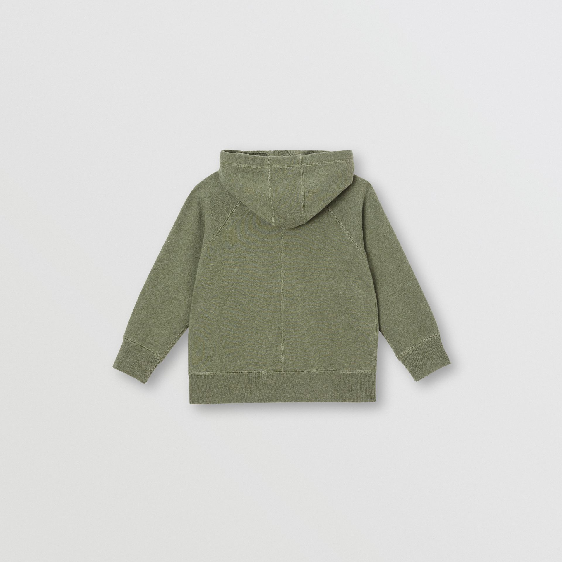 Cotton Jersey Hooded Top in Olive Melange | Burberry United Kingdom - gallery image 3