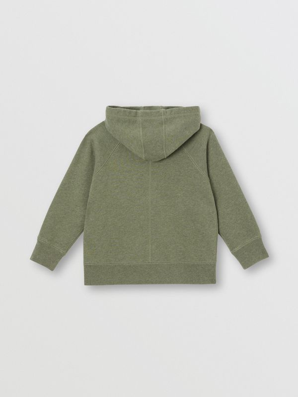 Cotton Jersey Hooded Top in Olive Melange | Burberry - cell image 3