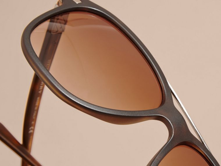 Square Frame Sunglasses in Tortoise Shell - Men | Burberry - cell image 4