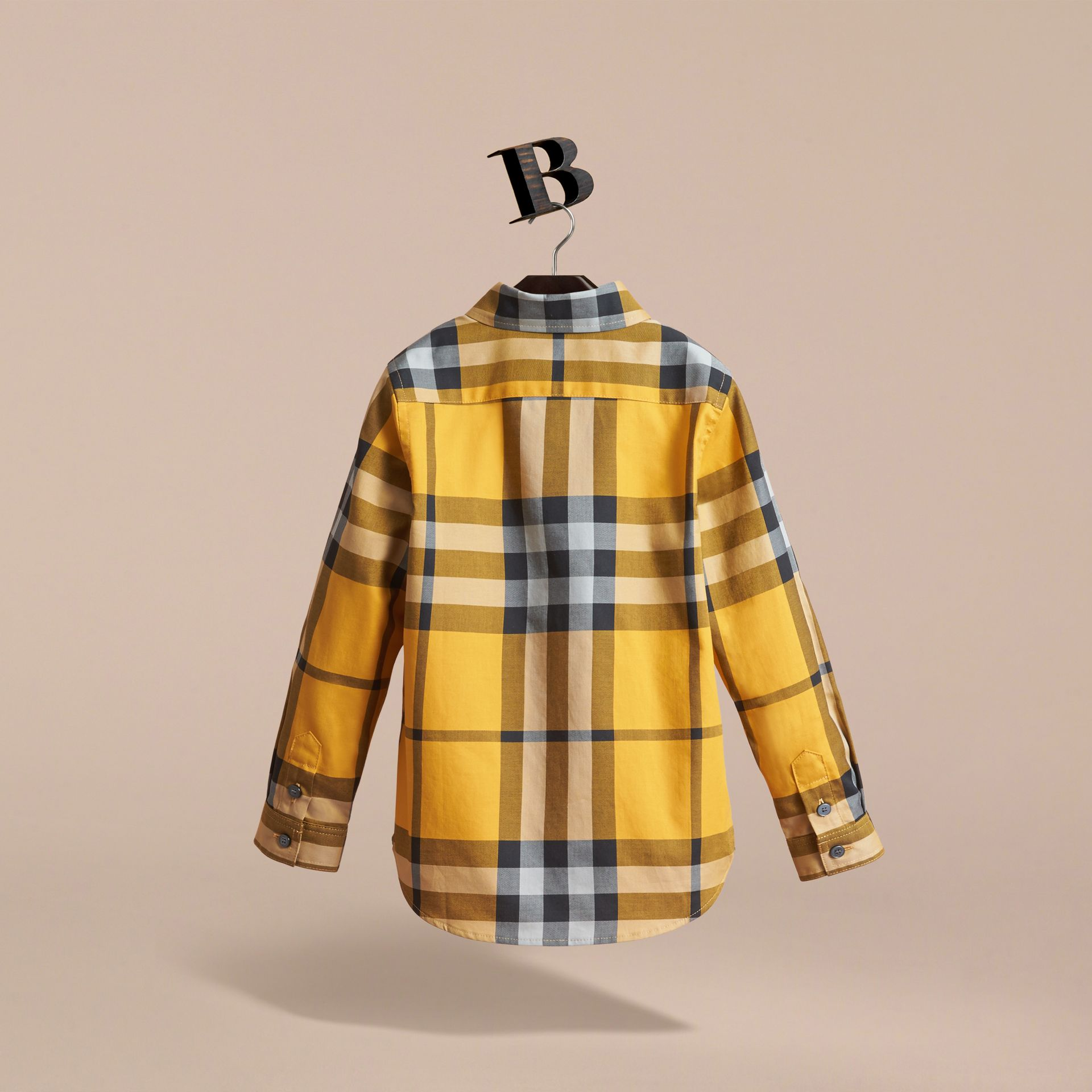 Check Cotton Button-Down Shirt in Saffron Yellow - Boy | Burberry United Kingdom - gallery image 4