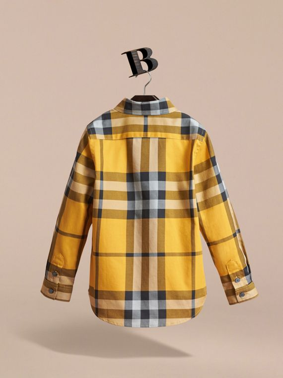 Check Cotton Button-Down Shirt in Saffron Yellow - Boy | Burberry - cell image 3