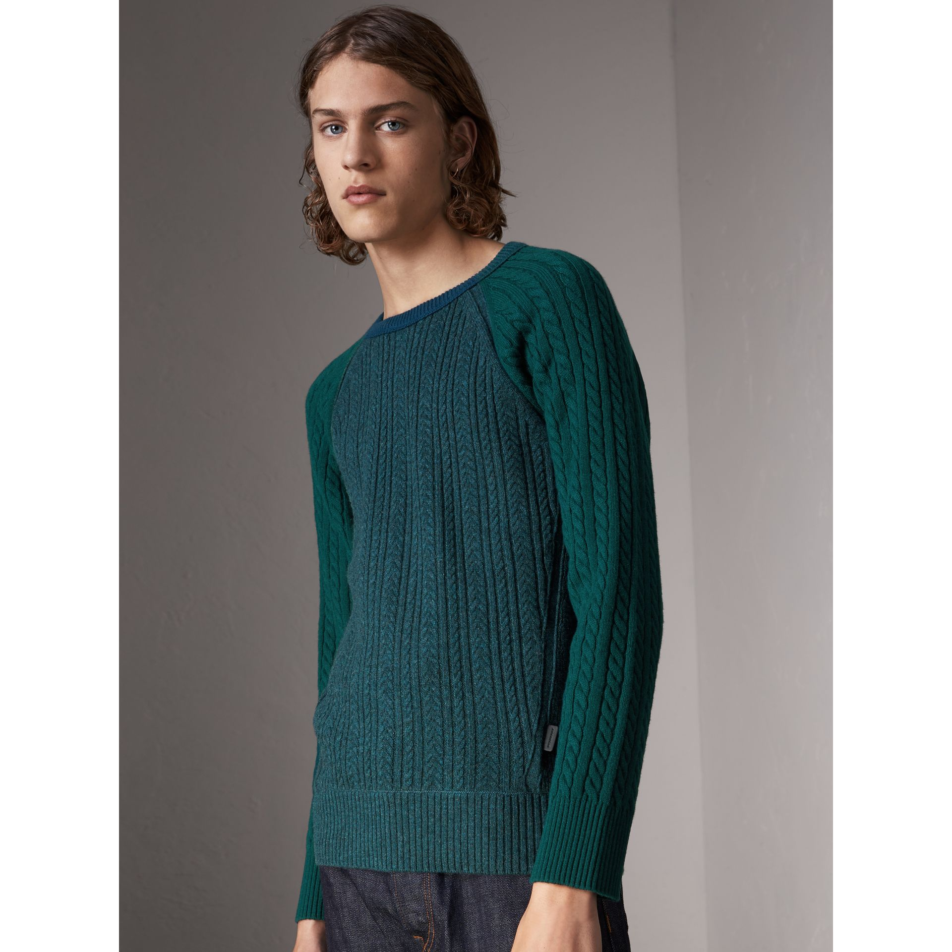Two-tone Cable Knit Cashmere Sweater in Dark Teal - Men | Burberry - gallery image 1
