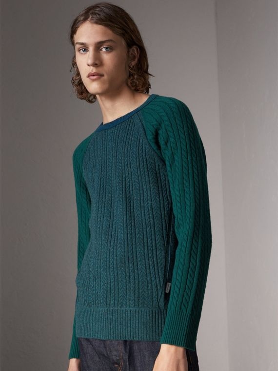 Two-tone Cable Knit Cashmere Sweater in Dark Teal