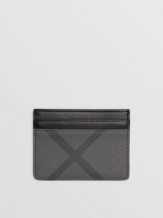 Porte-cartes en tissu London check et cuir (Anthracite/noir)