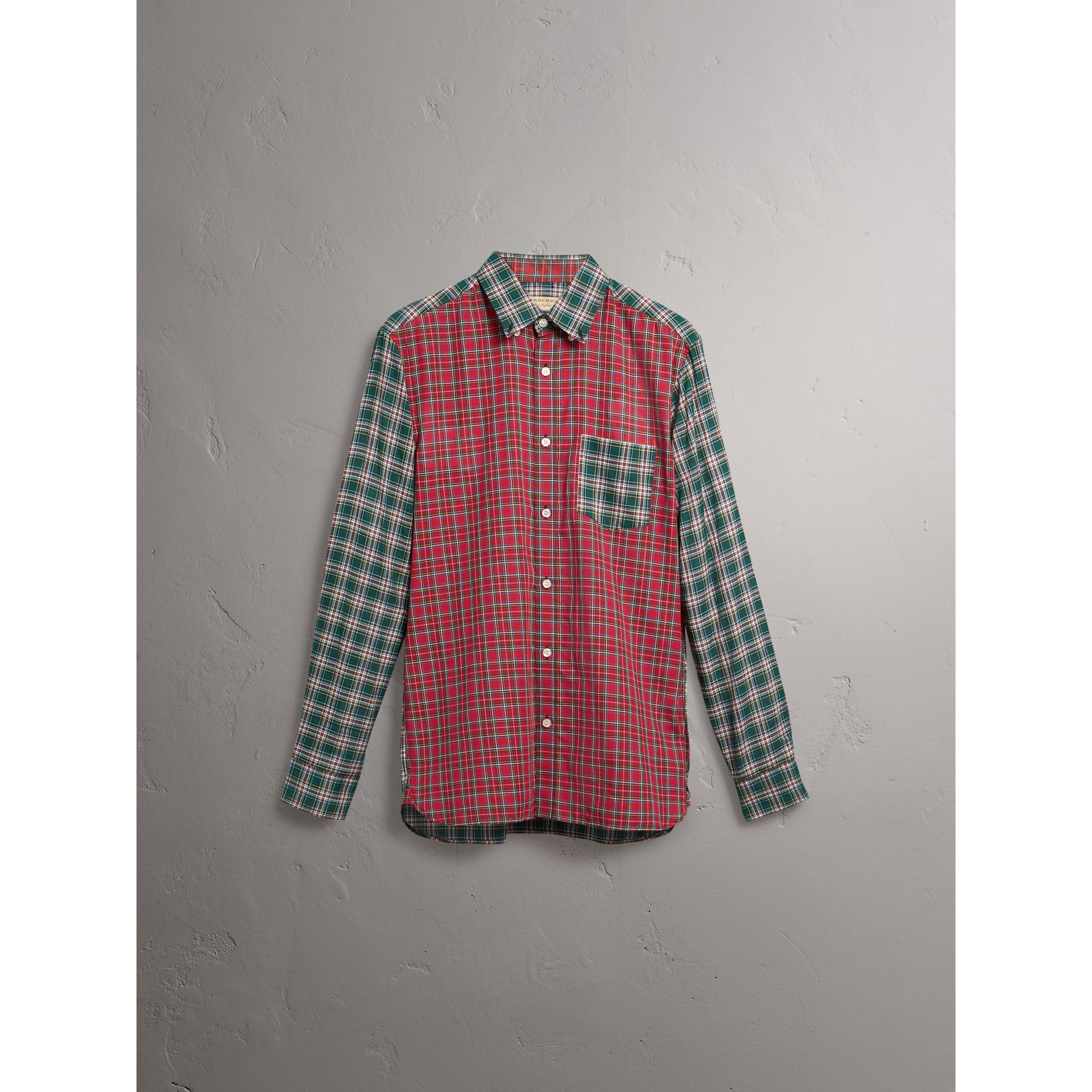 Tartan Cotton Oxford Shirt in Pine Green - Men | Burberry United States - gallery image 4