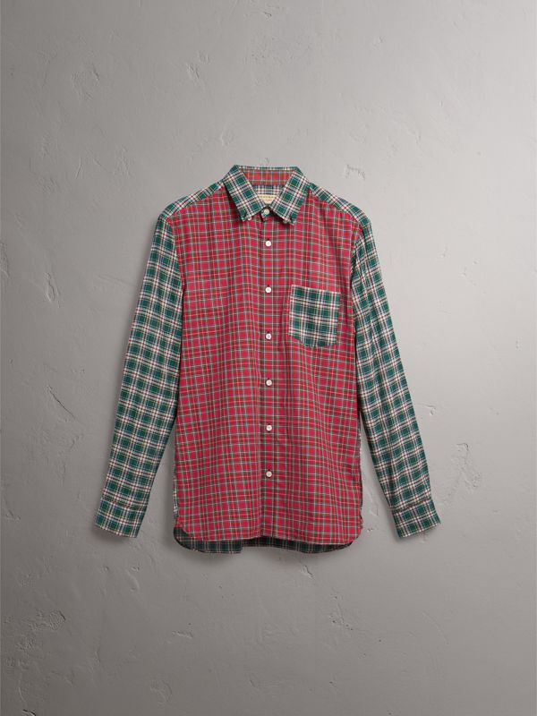 Tartan Cotton Oxford Shirt in Pine Green - Men | Burberry - cell image 3
