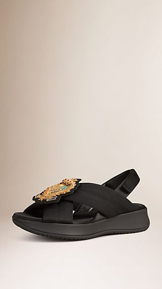 Crest-embroidered Sport Sandals