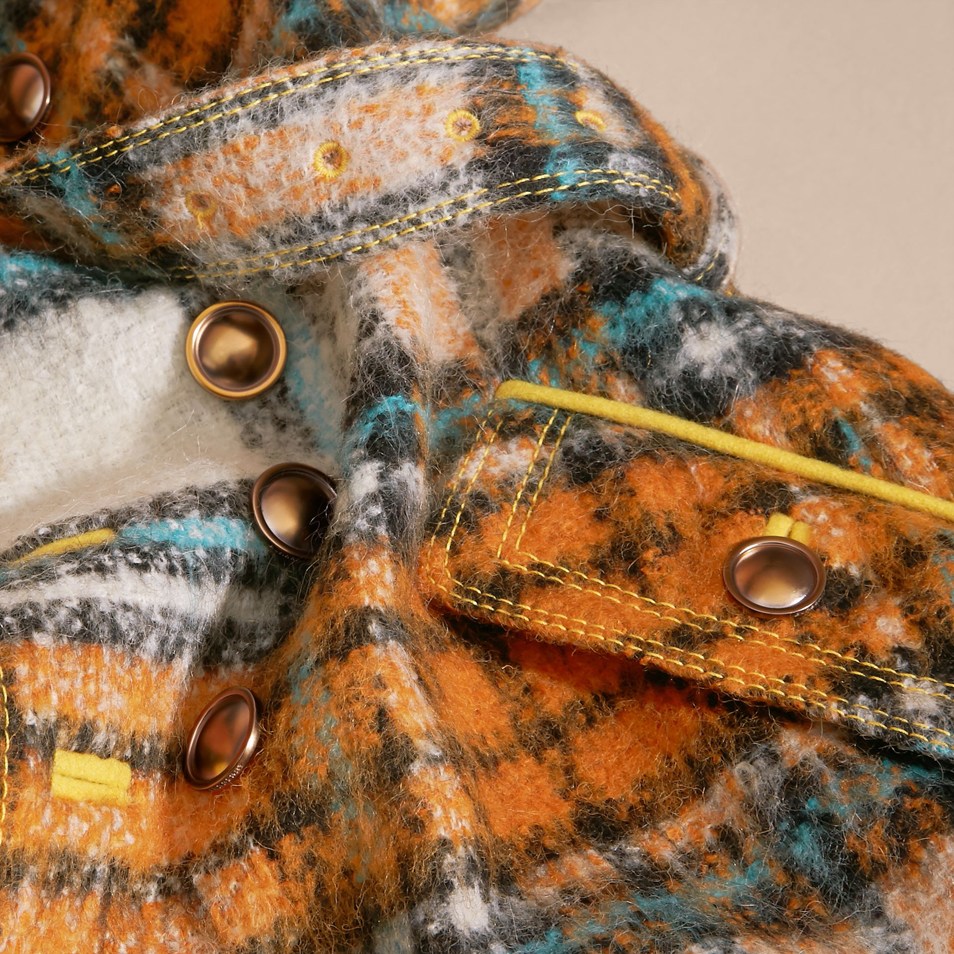 Orange umber Brushed Tartan Wool Mohair Blend Coat - gallery image 2