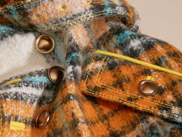 Orange umber Brushed Tartan Wool Mohair Blend Coat - cell image 1
