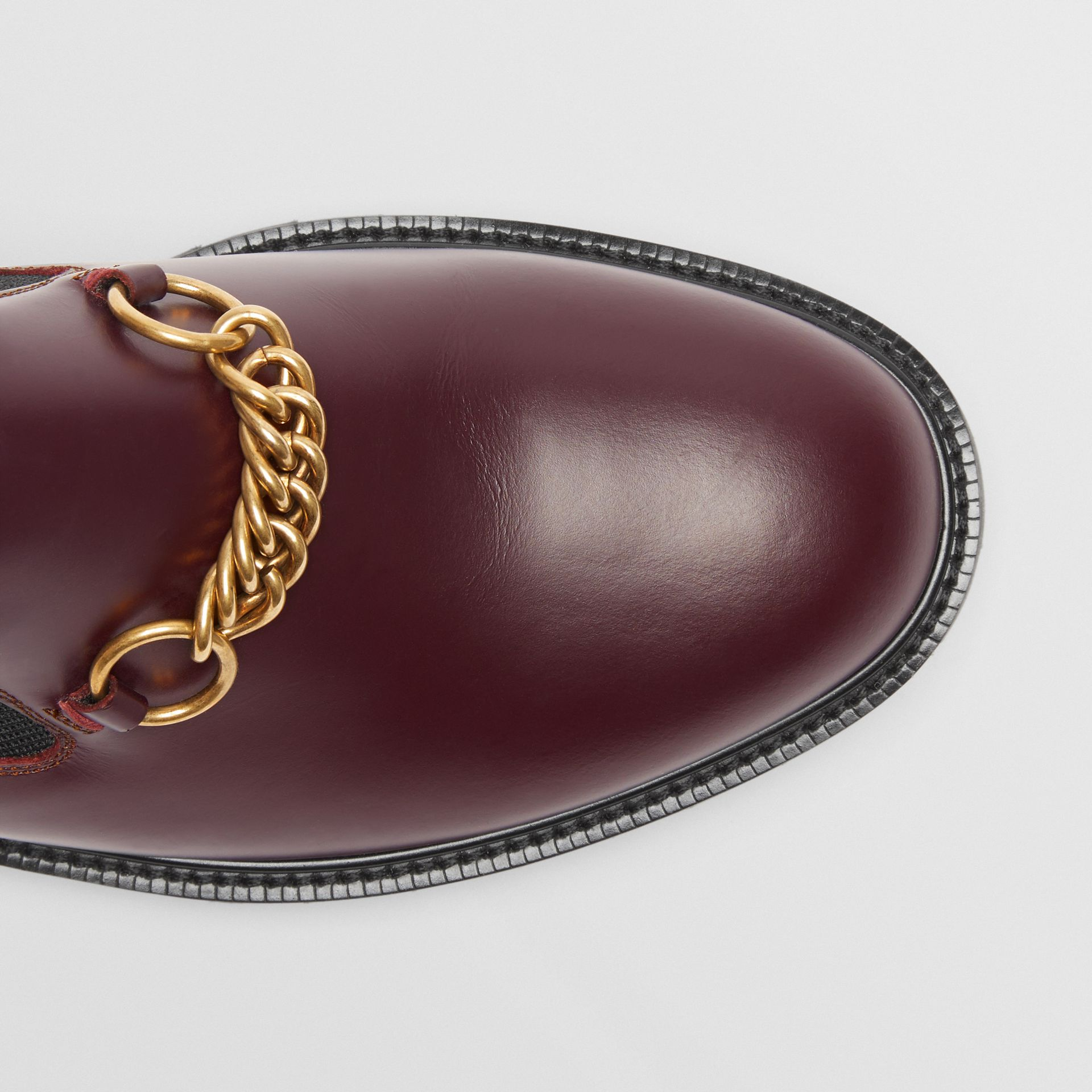 Link Detail Leather Shoe in Oxblood - Men | Burberry - gallery image 1