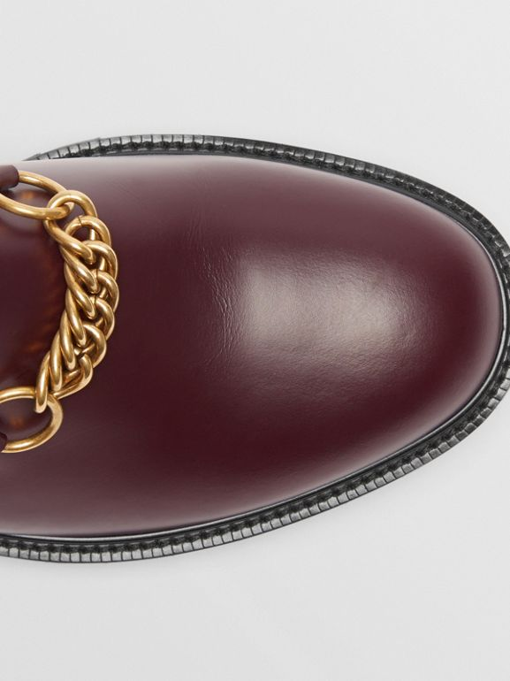 Link Detail Leather Shoe in Oxblood - Men | Burberry - cell image 1