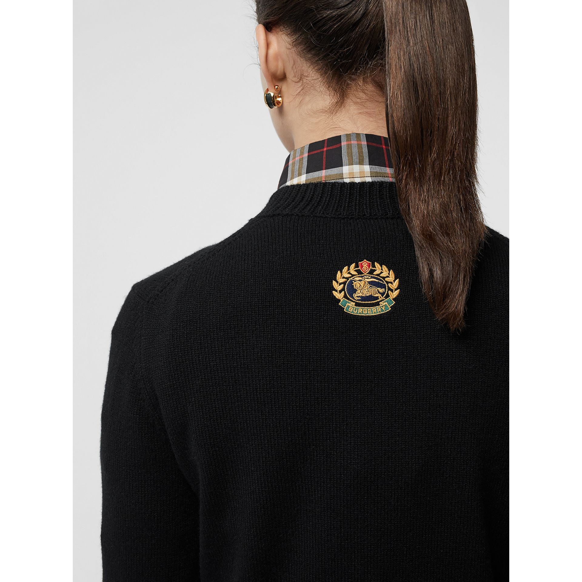 Embroidered Crest Cashmere Sweater in Black - Women | Burberry - gallery image 1