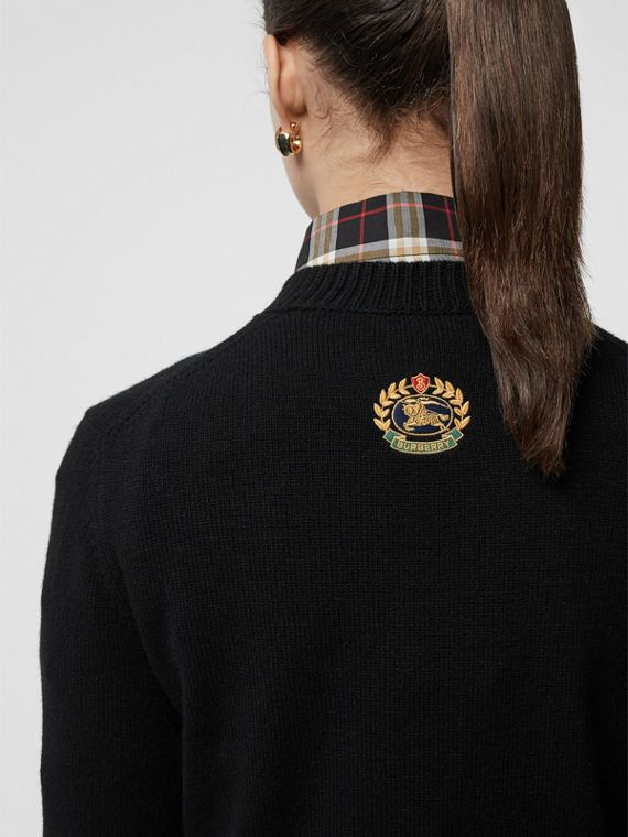 Embroidered Crest Cashmere Sweater in Black