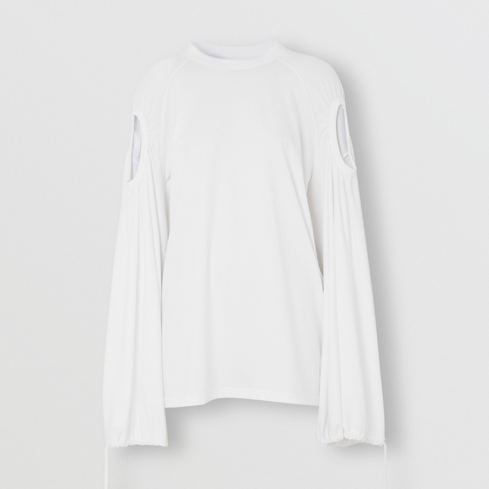 Cut-out Sleeve Cotton Oversized Top in Optic White - Women | Burberry - gallery image 3
