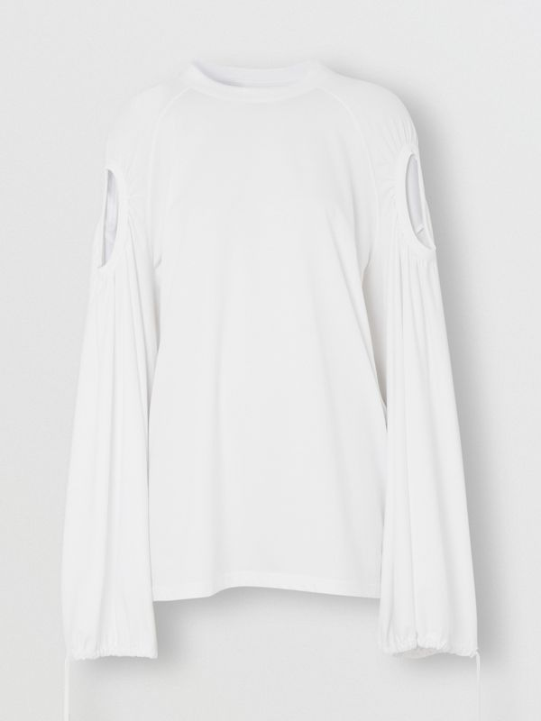 Cut-out Sleeve Cotton Oversized Top in Optic White - Women | Burberry United Kingdom - cell image 3