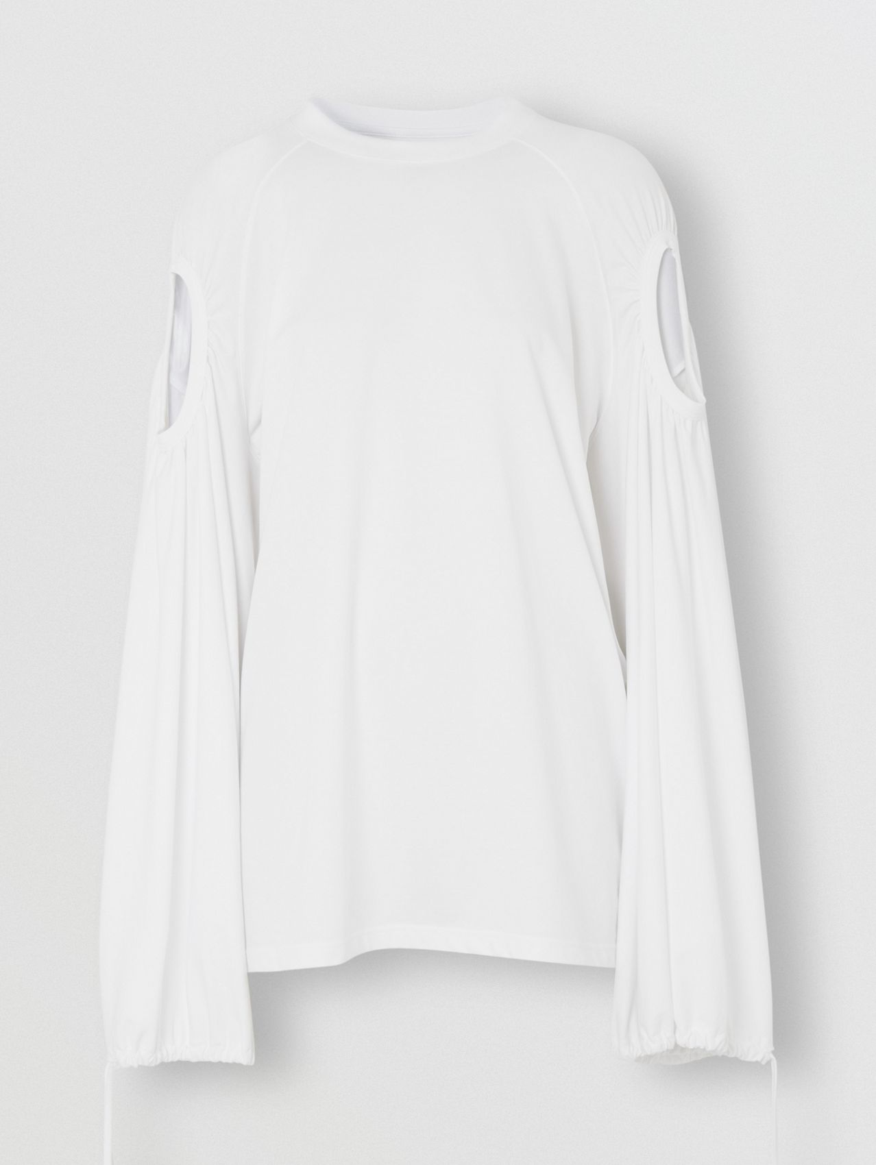 Cut-out Sleeve Cotton Oversized Top in Optic White