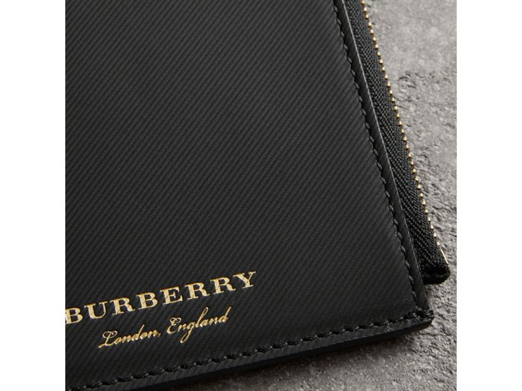 Trench Leather Ziparound Passport Holder in Black | Burberry - cell image 1