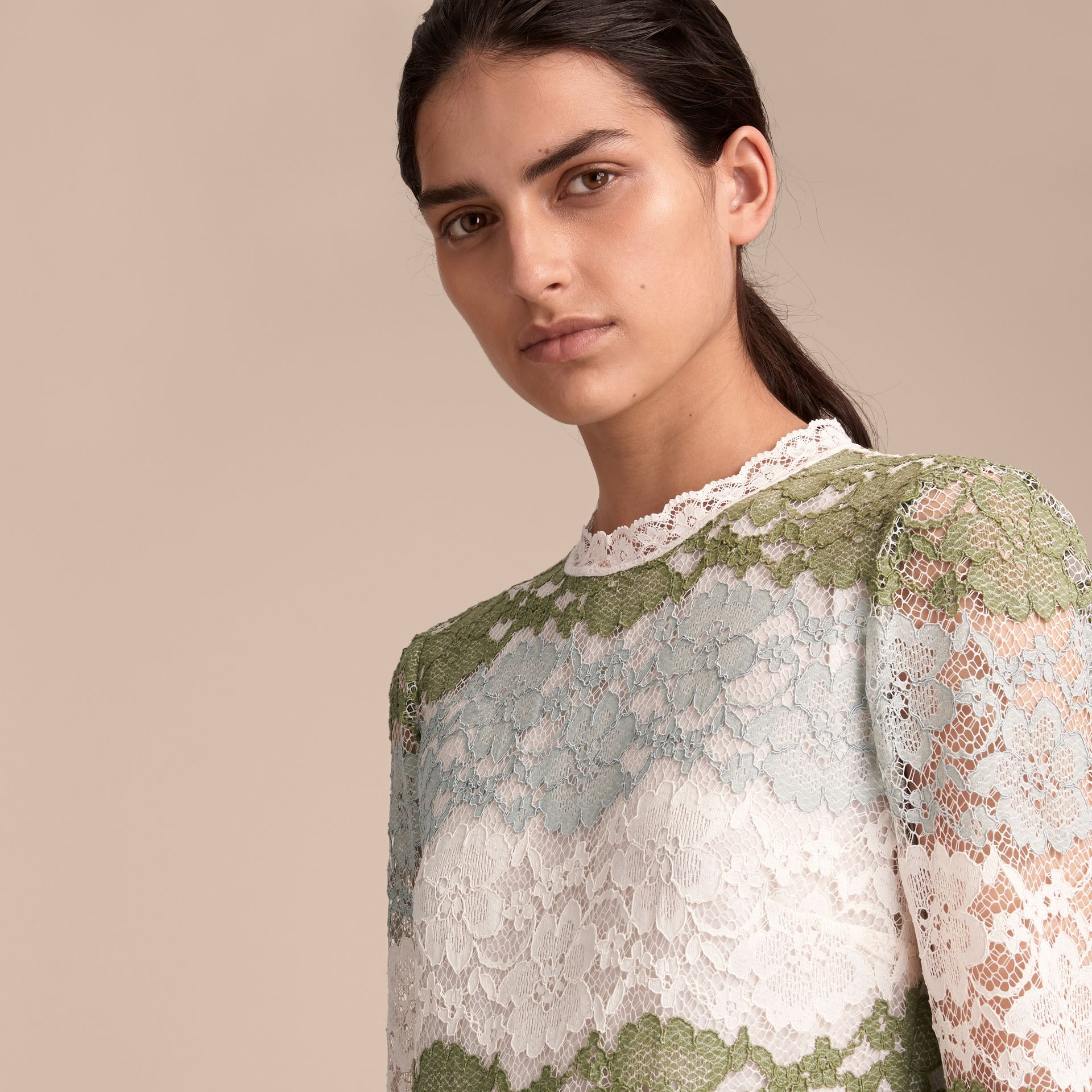 Floor-length Floral Lace Dress in Chalk Green - Women | Burberry - gallery image 5