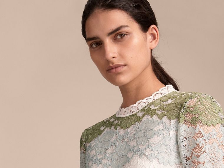 Floor-length Floral Lace Dress in Chalk Green - Women | Burberry - cell image 4
