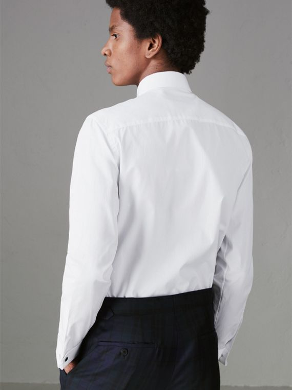 Slim Fit Double Cuff Cotton Poplin Shirt in White - Men | Burberry - cell image 2