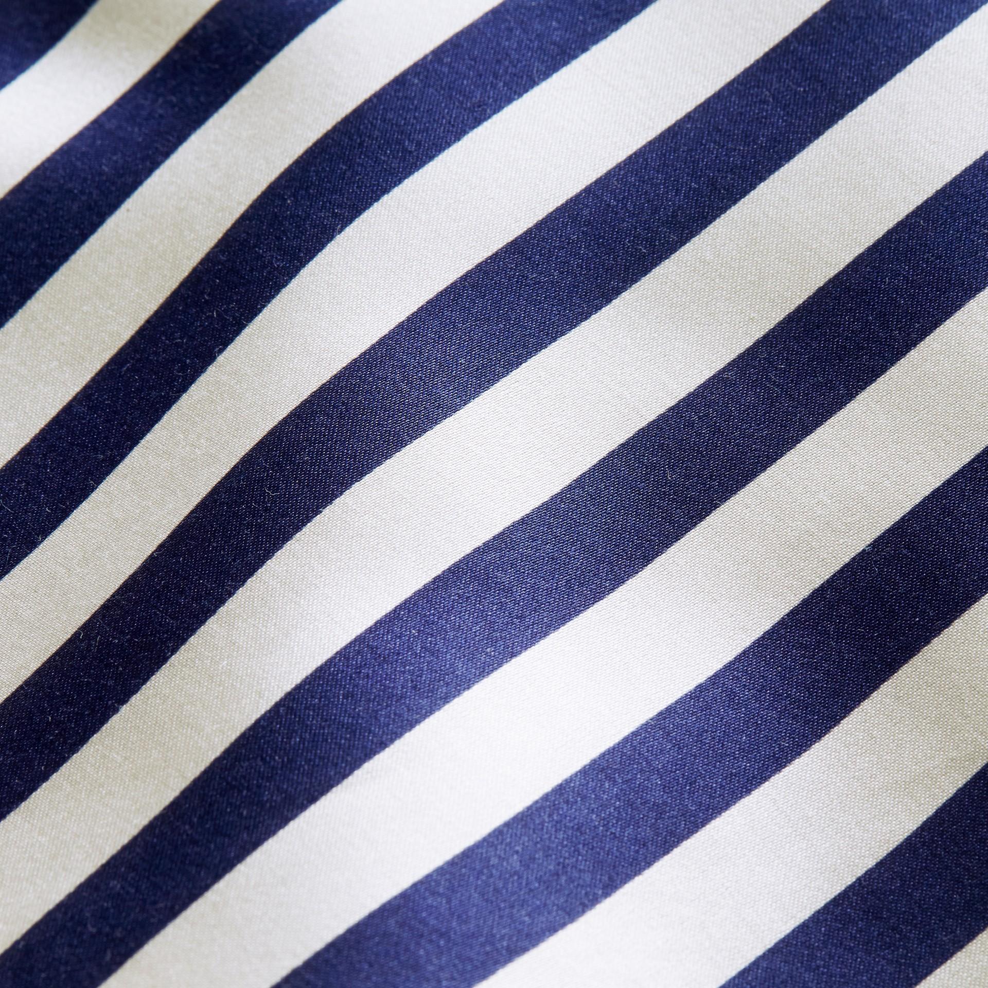 Unisex Striped Silk Cotton Panel Sweatshirt in Grey Melange - Men | Burberry - gallery image 2