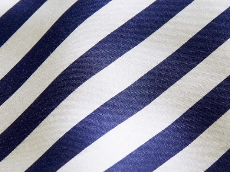 Unisex Striped Silk Cotton Panel Sweatshirt in Grey Melange - Men | Burberry - cell image 1
