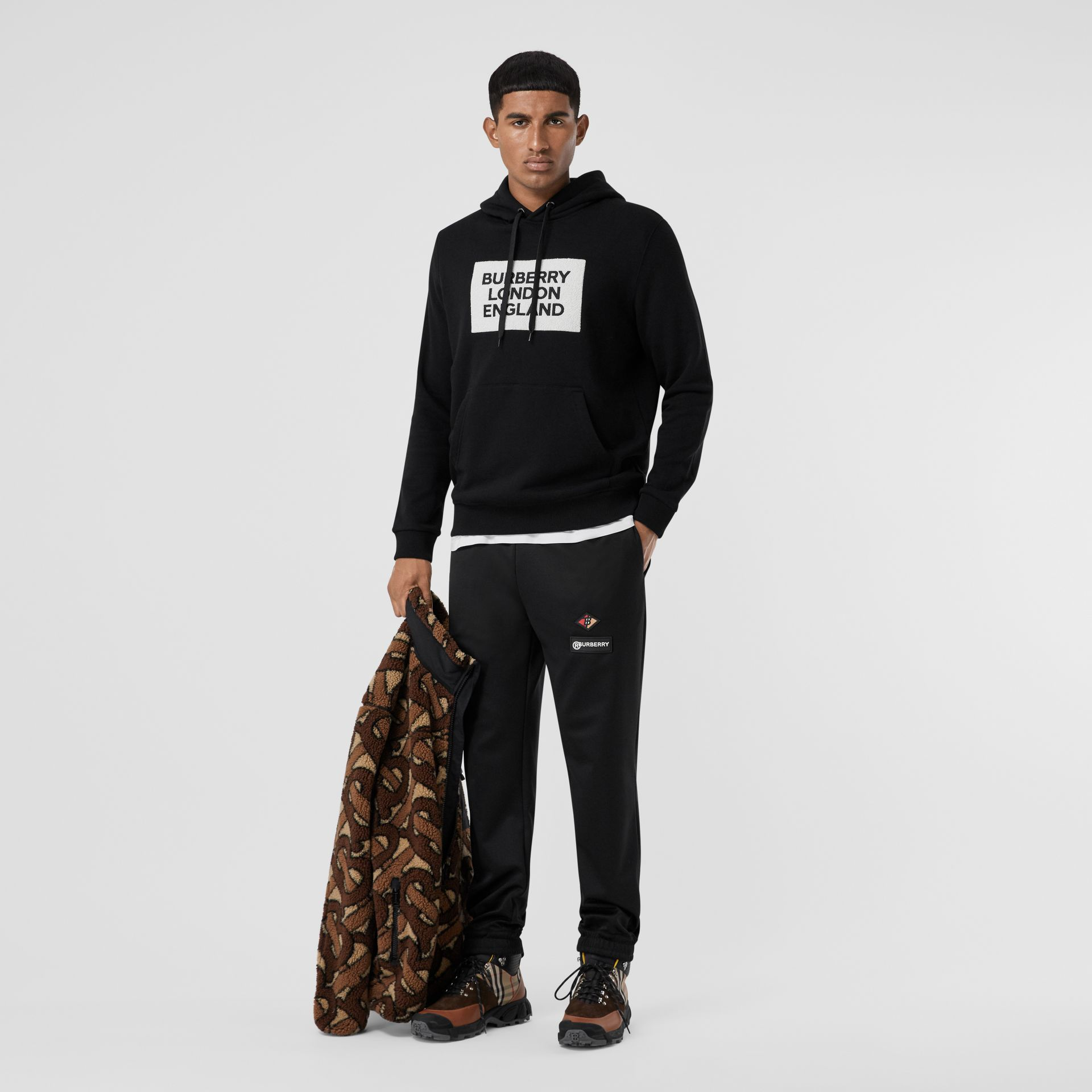 Logo Appliqué Cotton Hoodie in Black - Men | Burberry - gallery image 0