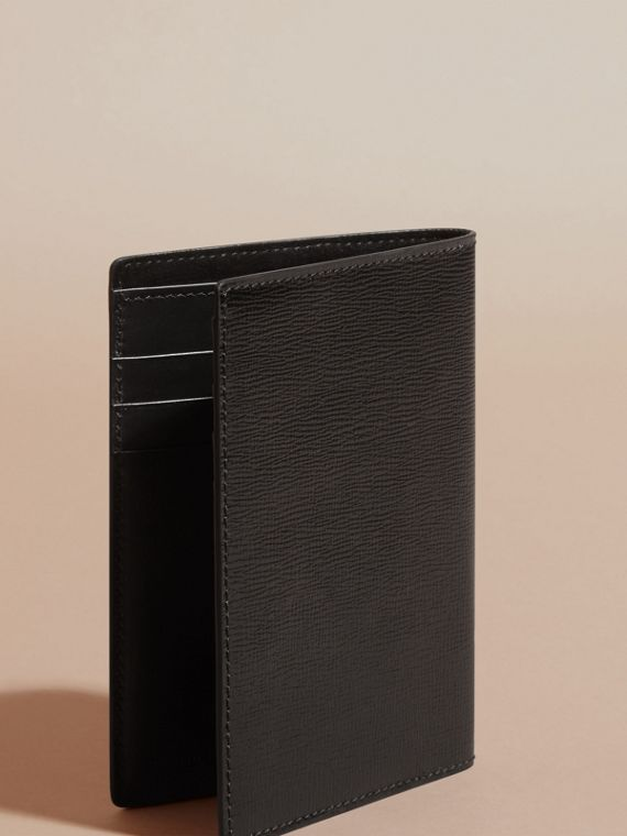 London Leather Passport and Card Holder in Black - Men | Burberry Australia - cell image 3