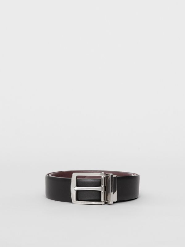 Reversible Leather Belt in Black - Men | Burberry Australia - cell image 3