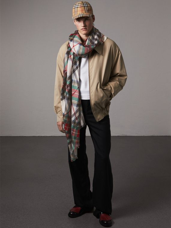 Tartan and Check Wool-silk Scarf in Red | Burberry United Kingdom - cell image 3